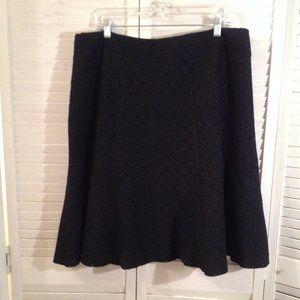Harold's 16 Black Lined Lace Career Flared Skirt